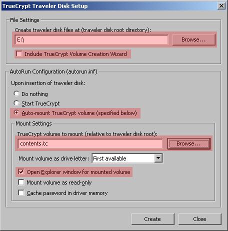 TrueCrypt Traveler Disk Setup