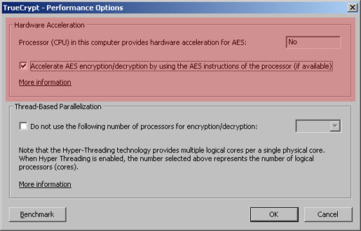 TrueCrypt Performance Options showing hardware-accelerated AES